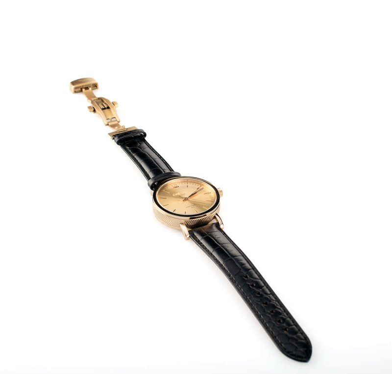connoisseur gold + black croc strap