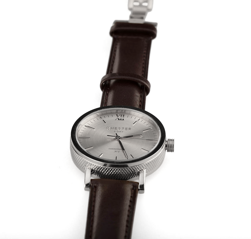 connoisseur steel + dark brown strap