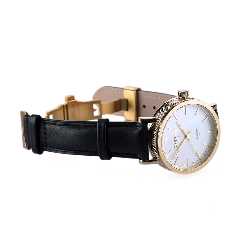 connoisseur gold/white + black strap