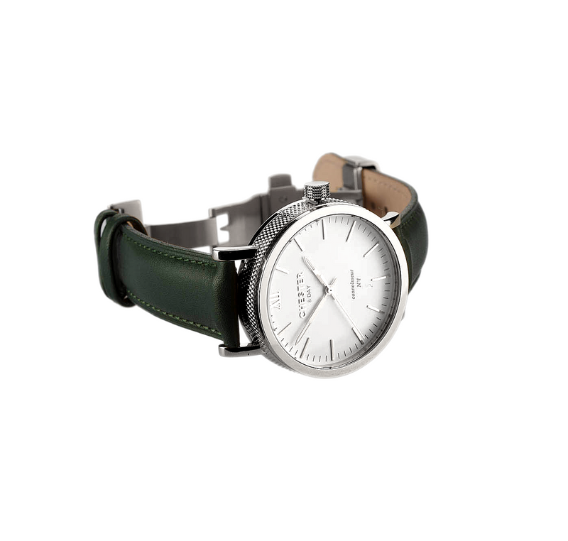 connoisseur steel/white + moss green strap