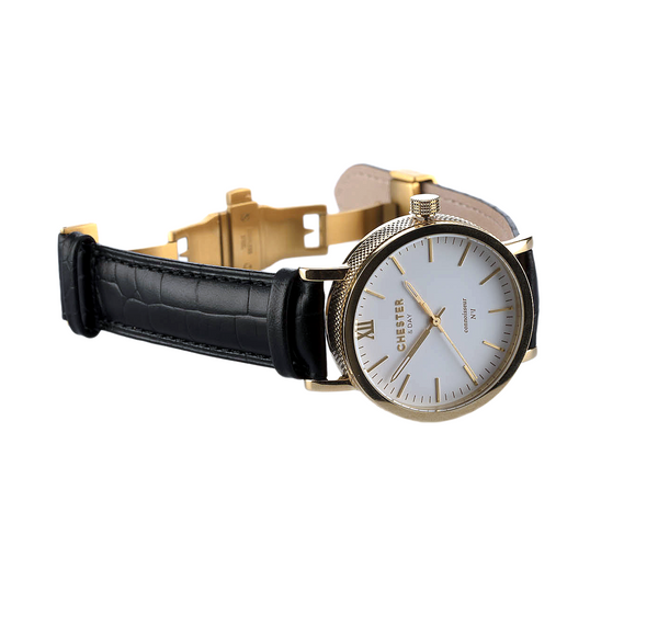 connoisseur gold/white + black croc strap