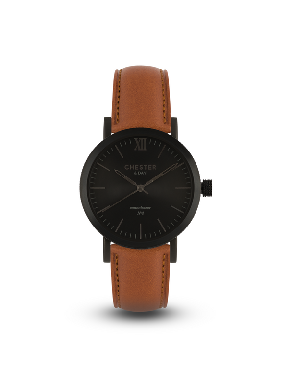 connoisseur black smoke + cognac brown strap