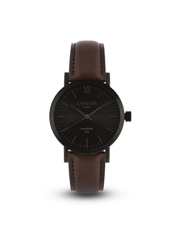 connoisseur black smoke + dark brown strap
