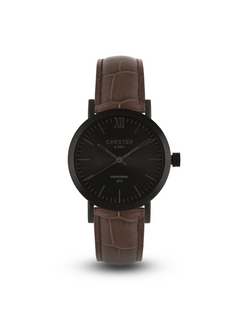 connoisseur black smoke + dark brown croc strap