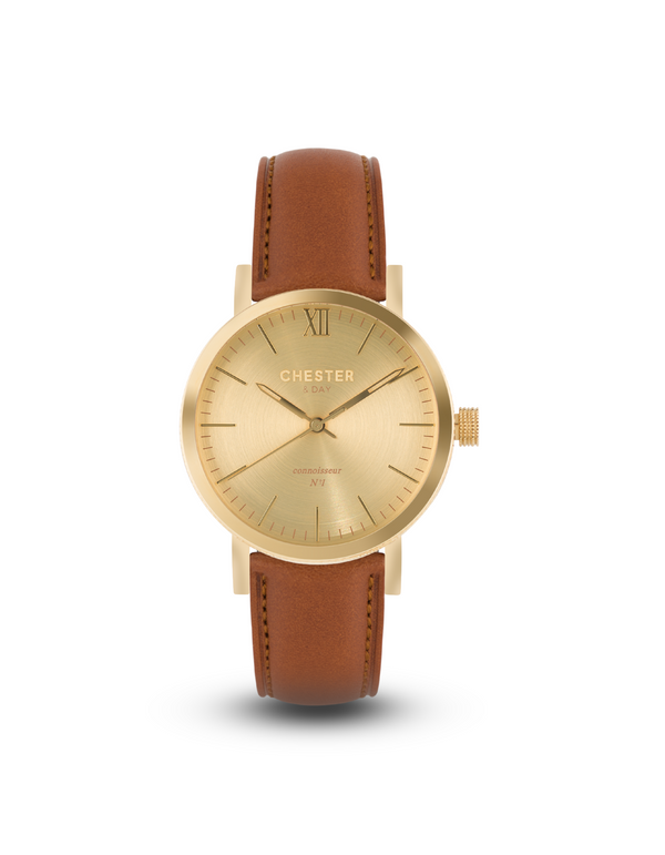 connoisseur gold + cognac brown strap