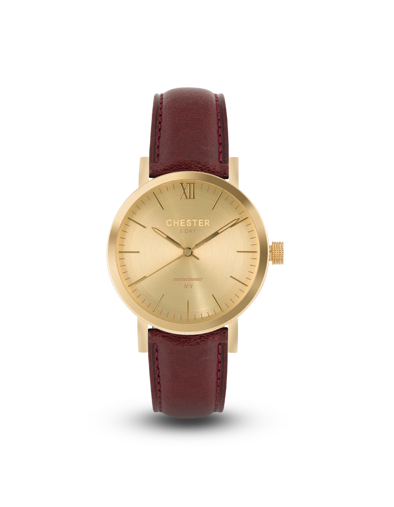 connoisseur gold + burgundy strap