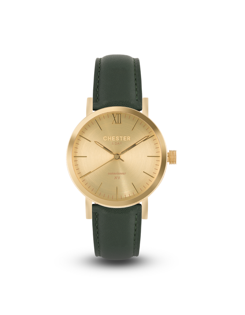 connoisseur gold + moss green strap