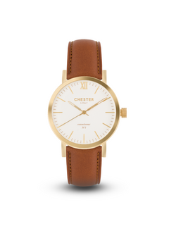 connoisseur gold/white + cognac brown strap