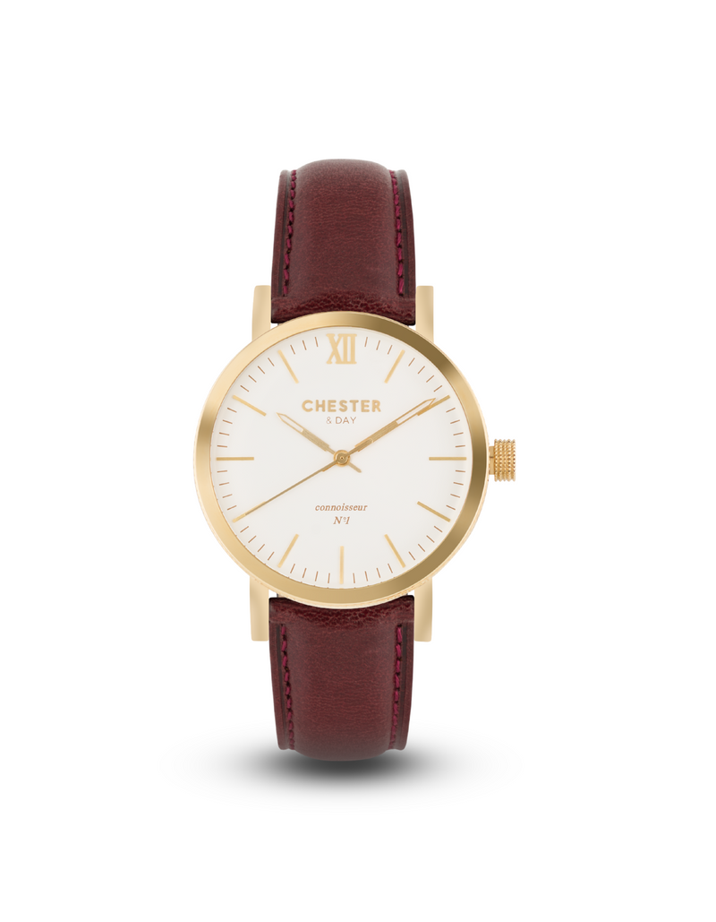 connoisseur gold/white + burgundy strap