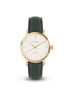 connoisseur gold/white + moss green strap