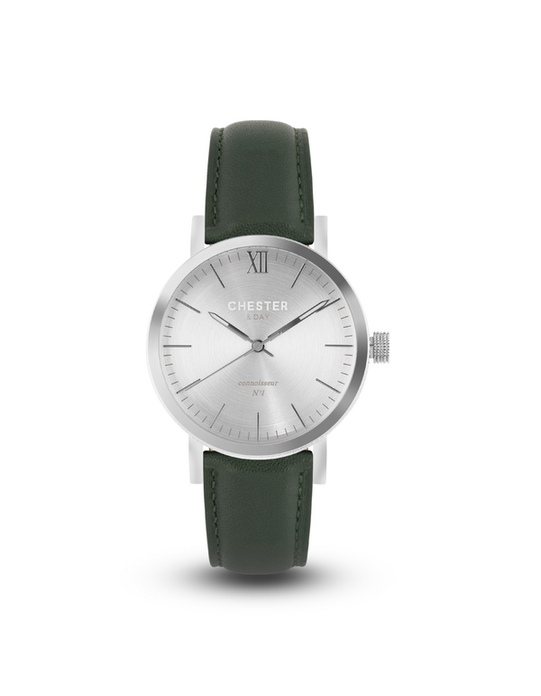connoisseur steel + moss green strap