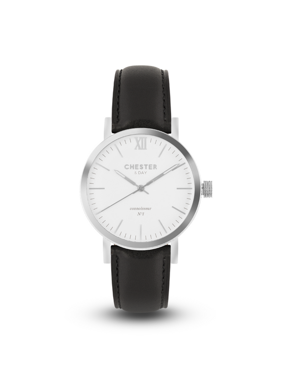 connoisseur steel/white + black strap