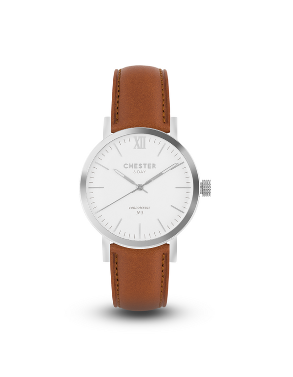 connoisseur steel/white + cognac brown strap