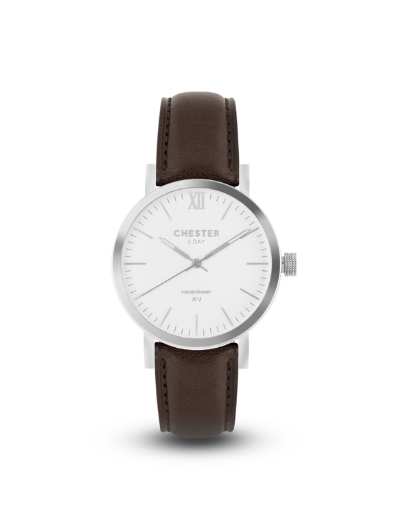 connoisseur steel/white + dark brown strap