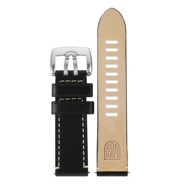 Black Leather Strap With White Lining (1800 Field Land Series) - 23mm