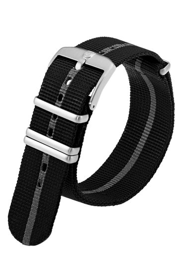 Black Webbing Strap With Silver Stripe