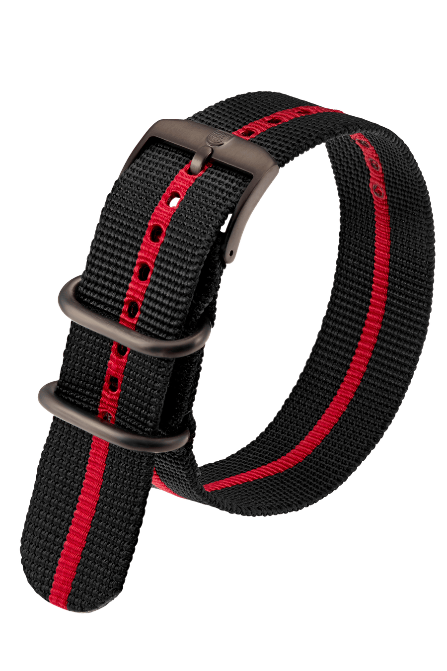 Black Webbing Strap With Red Stripe - 23MM