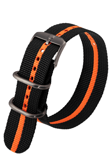Black Webbing Strap With Orange Stripe - 23MM