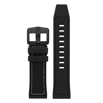Black Nylon over Black Rubber Strap with White Stitching (ICE-SAR Series) - 24mm