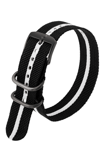 Black Webbing Strap With White Stripe - 23MM