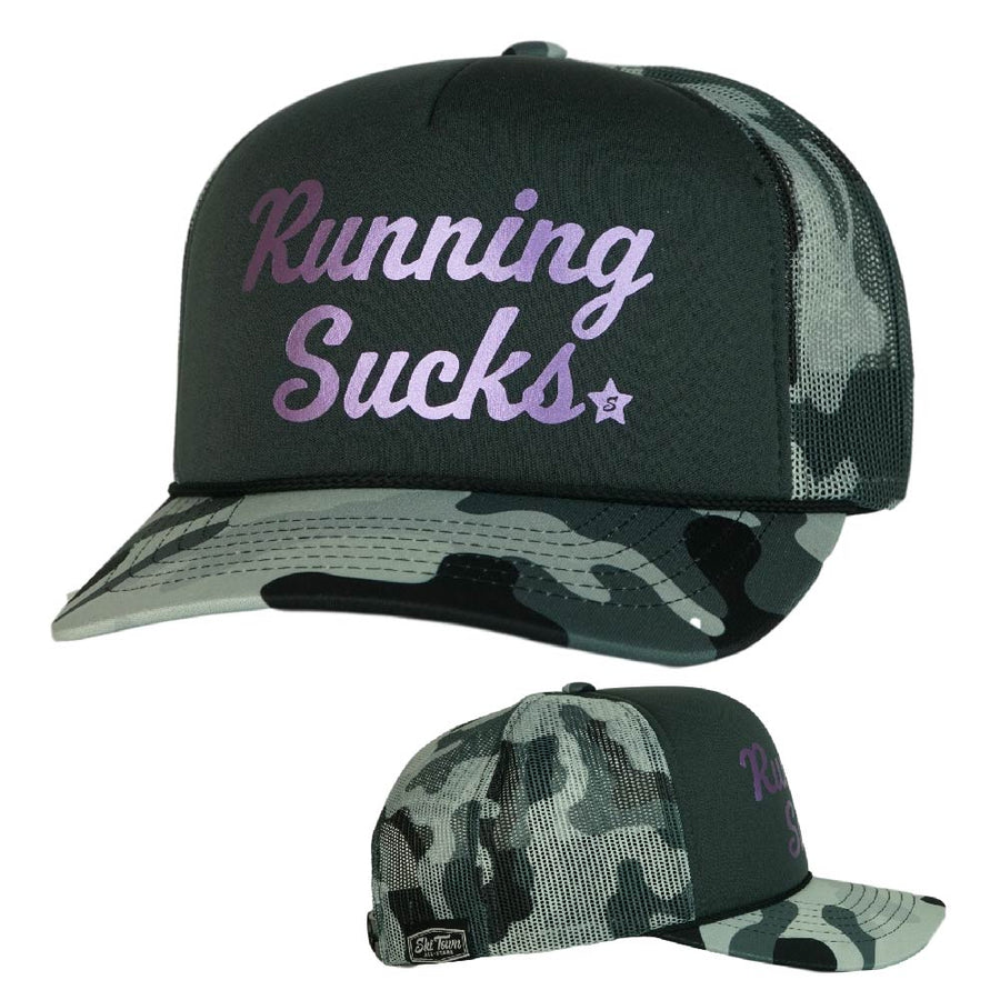 CURSIVE CAMO RUNNING SUCKS