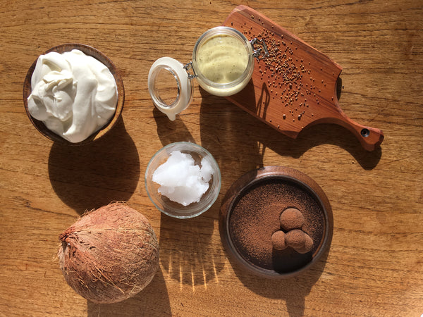 Photo of cocconut oil, whipped coconut milk, coconut oil aoilo and chocolate truffles.