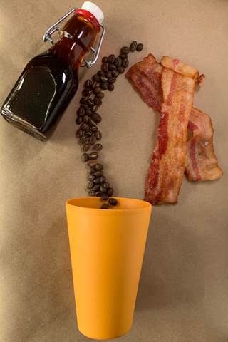 Maple Bacon Flat Lay Recipe Image - Mug, Bacon, coffee beans, maple syrup