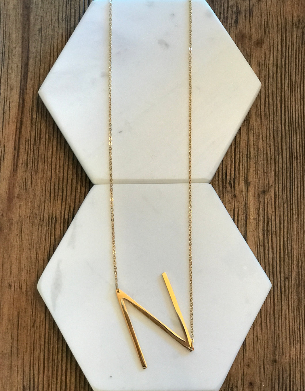 Initial Necklace Letter: N