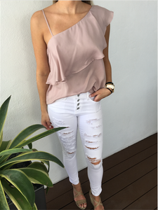 Nude One Shoulder Top