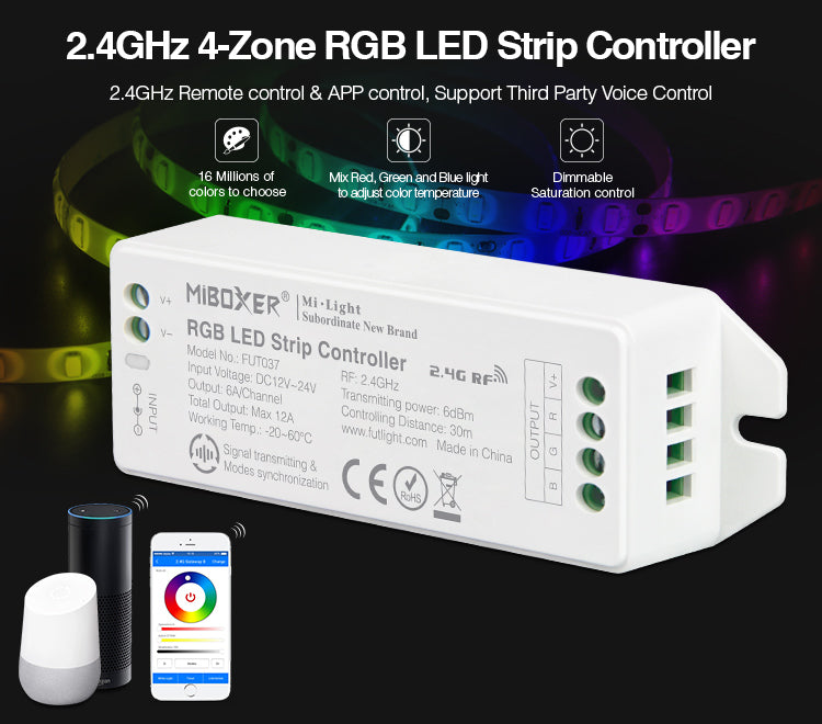Smart 2.4GHz 4-Zone RGB LED Light Strip Control Unit – Upgrade Version