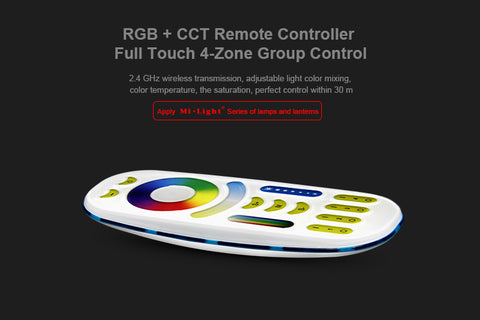 2.4GHz RGB + CCT Remote Controller Full Touch 4-Zone Group Control