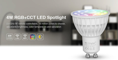 2.4GHz RF Remote-able 4W RGB+CCT LED GU10 Bulb