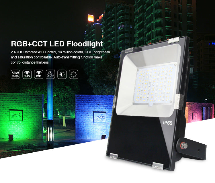 IP65 2.4G RF Wireless Control 50W Smart RGB+CCT LED Flood Light