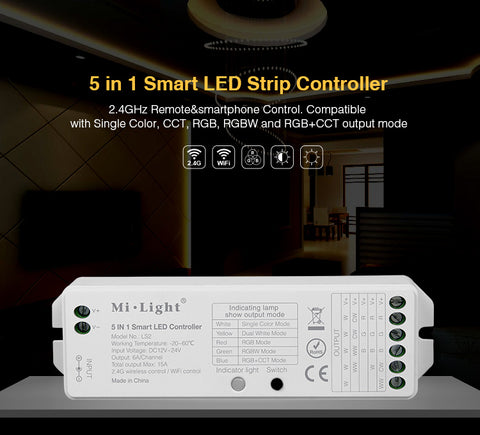 FluxTech 5 In 1 LED Strip Light Controller for Single Colour/ CCT/ RGB/ RGBW/ RGB+CCT Strips Light