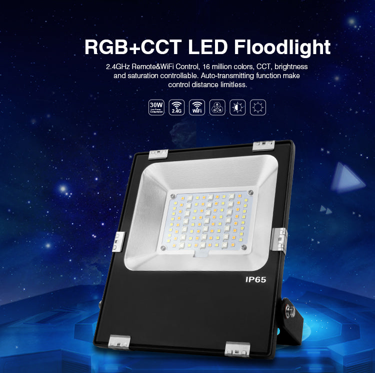 IP65 2.4G RF Wireless Control 30W Smart RGB+CCT LED Flood Light