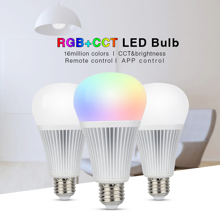 2.4GHz RF Remote-able 9W RGB+CCT LED Bulb