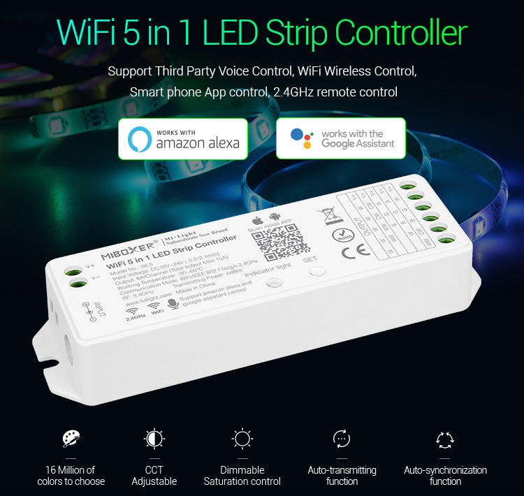 FluxTech ®, MiBoxer 5 in 1 WiFi LED Strip Controller, Amazon Alexa Voice Control Remote, Google Assistant and APP Control