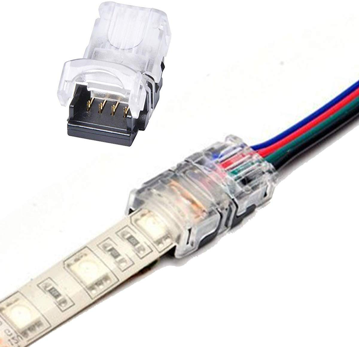 FluxTech 4-Pin RGB LED Strip to Wire Connector for 10mm Watreproof 5050 LED Strip Light