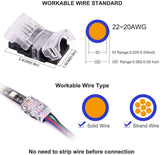 FluxTech 4-Pin RGB LED Strip to Wire Connector for 10mm Waterproof 5050 LED Strip Light