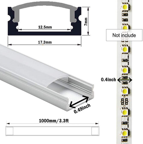 FluxTech – 2M LED Strip Aluminum U Shape Channel with Milky White PC Cover for Strip Lights