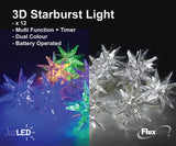 FluxTech - Starburst Star 12 x Dual Colour LED Lights by JustLED – Multi-function Effect – Timer function - Battery Operated