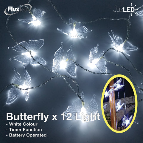 FluxTech - Fairy Butterfly 12 x White Colour LED String Lights by JustLED – Timer function - Battery Operated