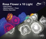 FluxTech - Fairy Rose Flower 10 x Dual Colour LED String Lights by JustLED – Multi-function Effect – Timer function - Battery Operated
