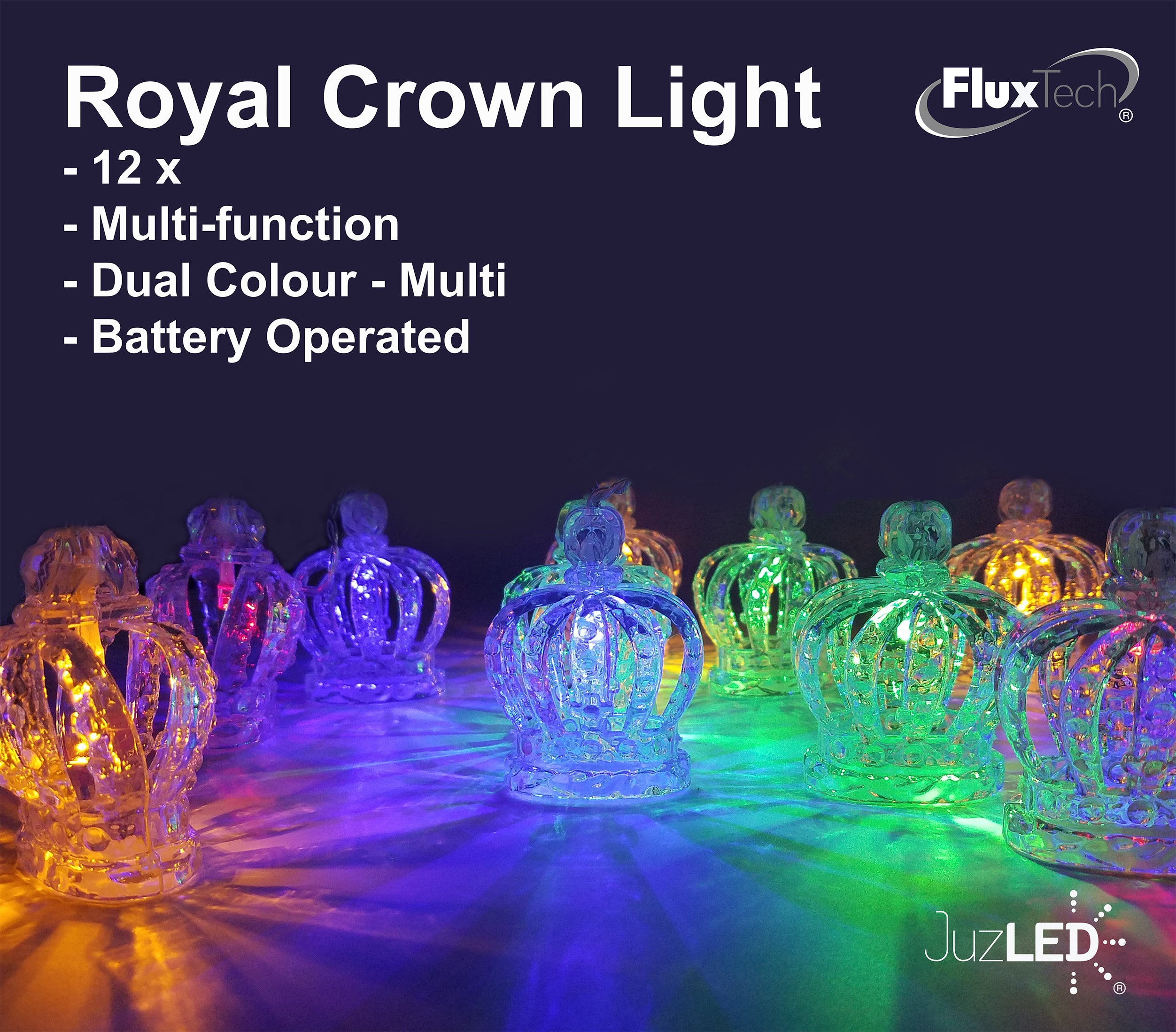 FluxTech - 3D Royal Crown 12 x Dual Colour LED String Lights by JustLED – Multi-function Effect – Timer function - Battery Operated