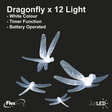 FluxTech - Fairy Dragonfly 12 x White Colour LED String Lights by JustLED – Timer function - Battery Operated