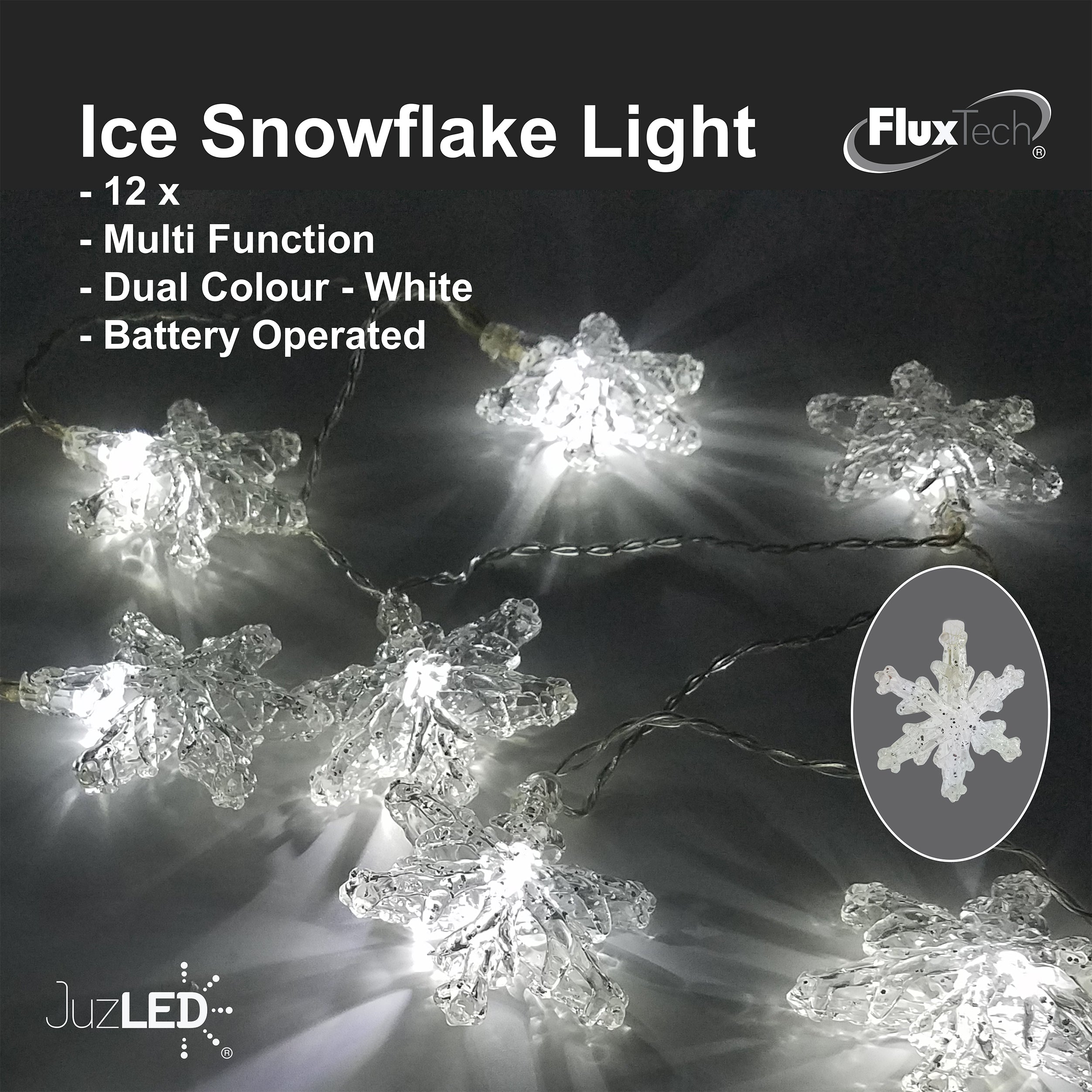 FluxTech - Ice Snowflake 12 x Dual Colour LED String Lights by JustLED – Multi-function Effect – Timer function - Battery Operated