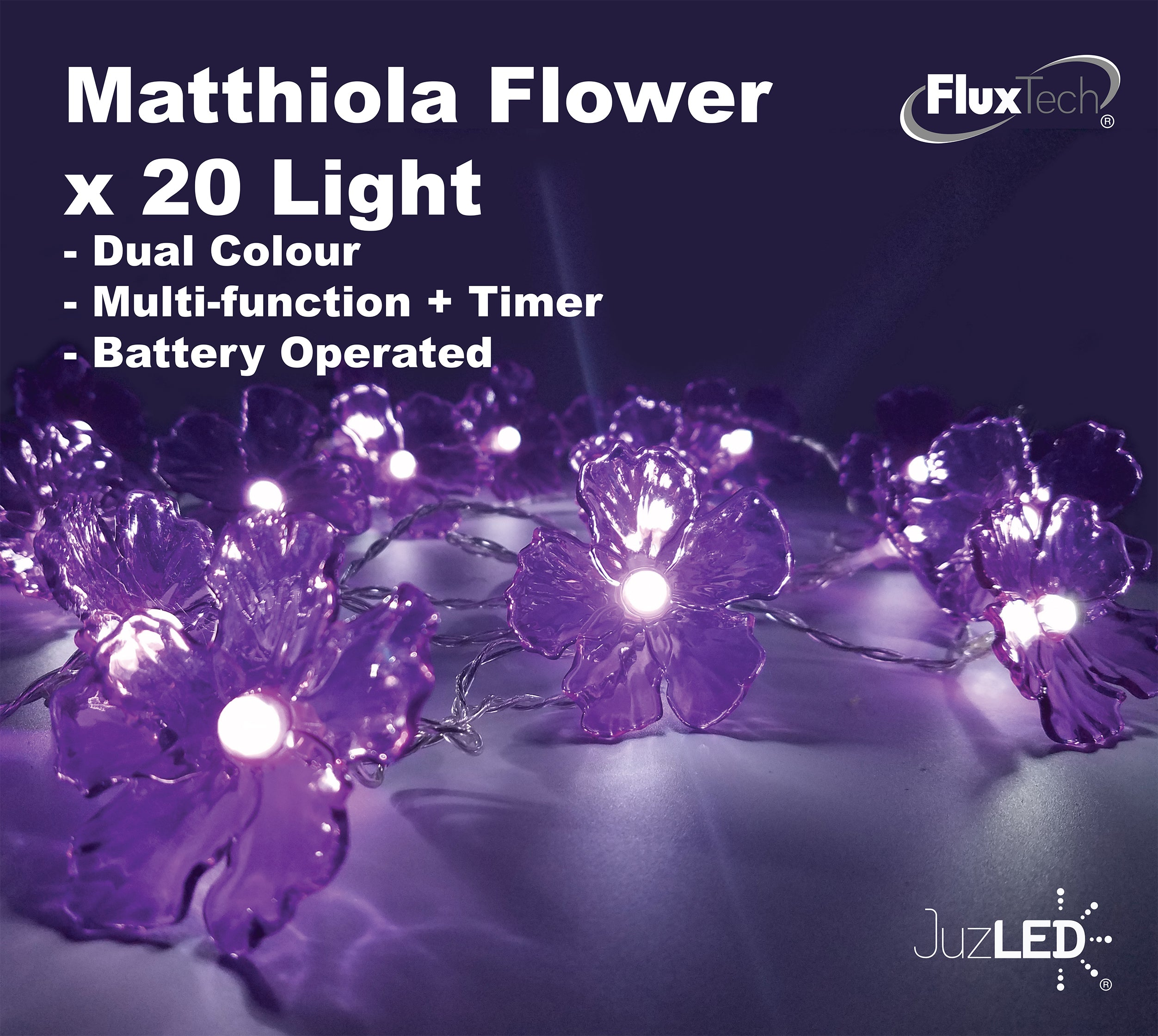 FluxTech - Matthiola Flower 20 x Dual Colour LED String Lights by JustLED – Multi-function Effect – Timer function - Battery Operated