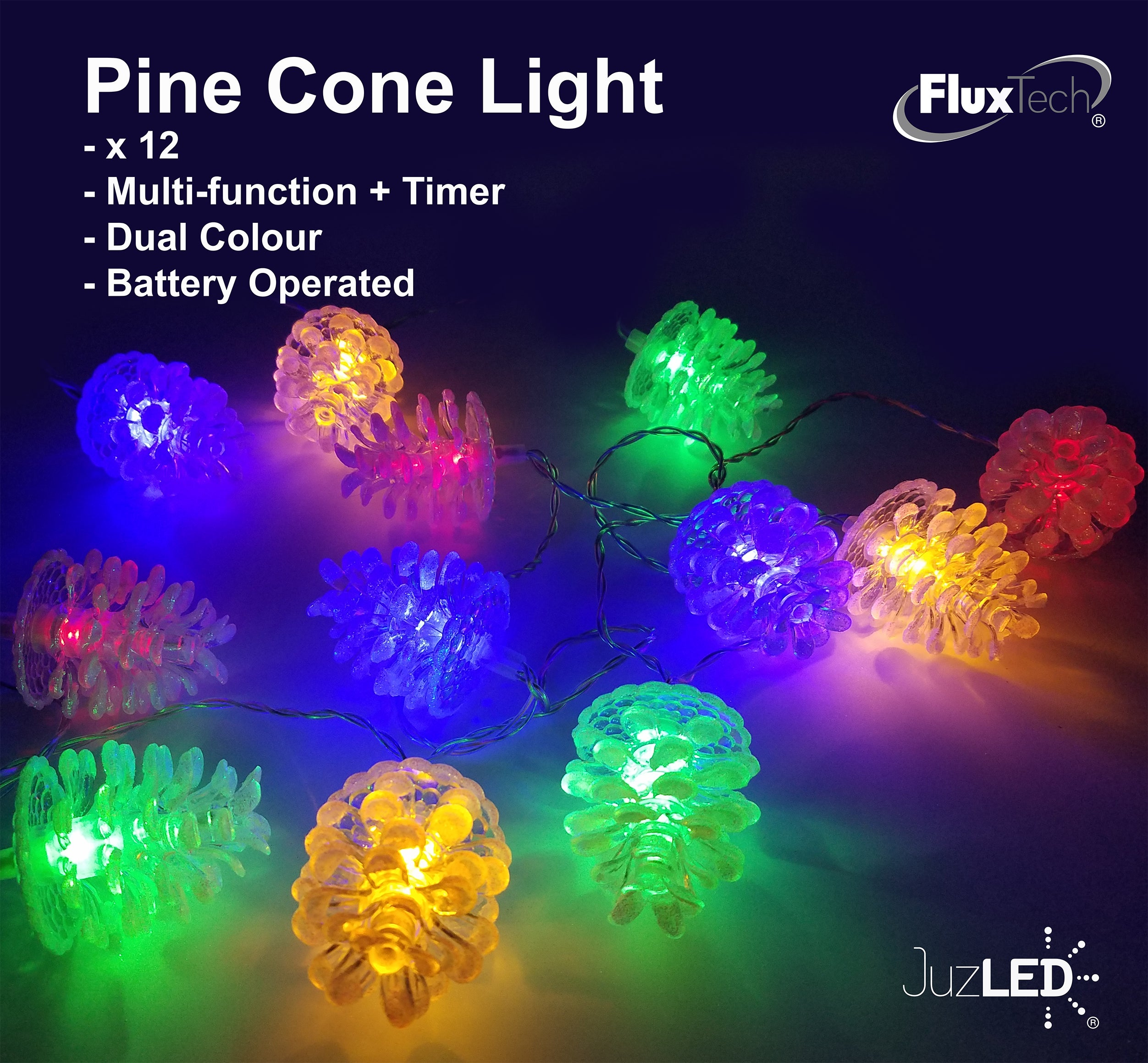 FluxTech - Sparkling Pine Cone 12 x Dual Colour LED String Lights by JustLED – Multi-function Effect – Timer function - Battery Operated