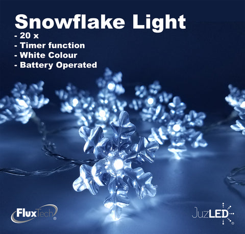 FluxTech - Snowflake x 20 Cool White LED Lights by JustLED – Timer function - Battery Operated