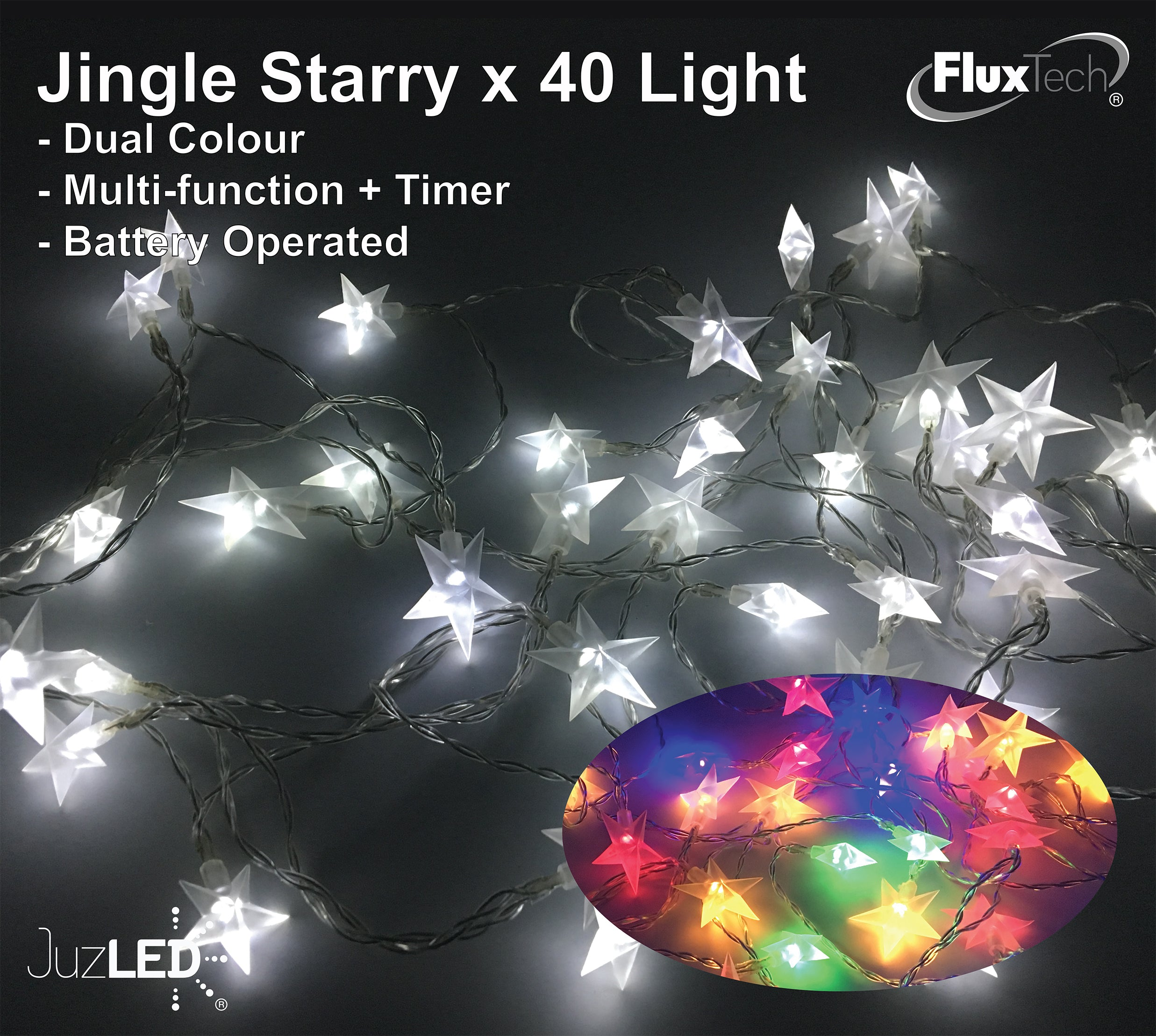 FluxTech - Twinkle Starry 40 x Dual Colour LED Lights by Santa's Factory – Multi-function Effect – Timer function - Battery Operated